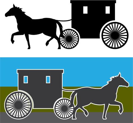 Amish wagon vector illustration clip-art image Stock Vector - 67677941