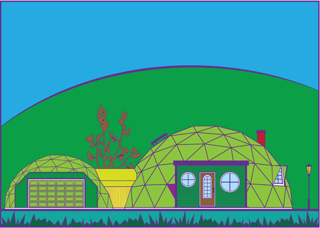 GeoDome vector house illustration clip-art image