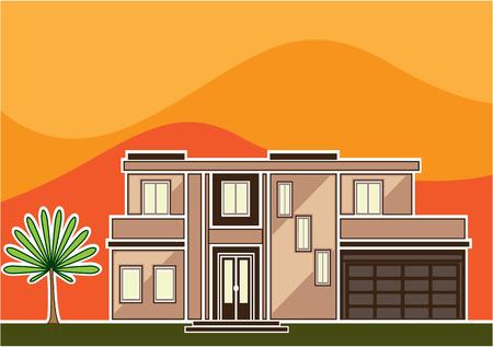 House in the hills vector illustration clip-art image Illustration