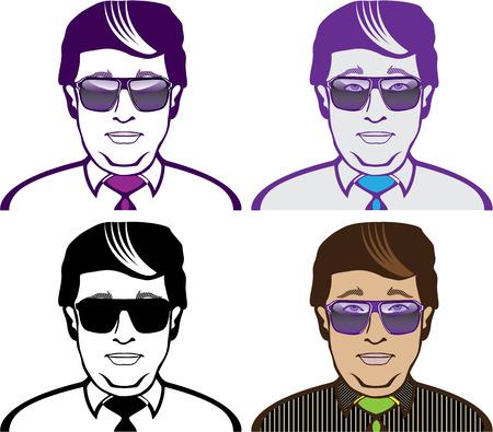 Dudes in glasses vector illustration clip-art image