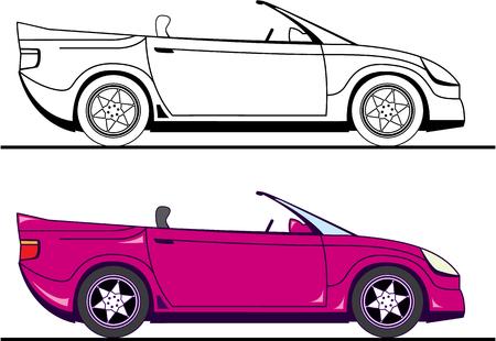 Convertible car vector illustration clip-art image Illustration