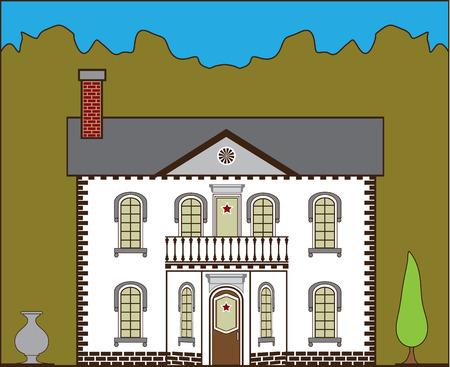 Suburban house vector illustration clip-art image