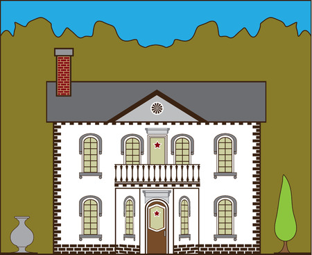 housing project: Suburban house vector illustration clip-art image
