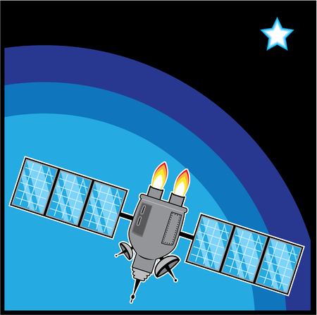 world receiver: Satellite vector illustration clip-art image