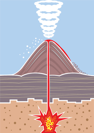 Volcano eruption vector illustration clip-art image