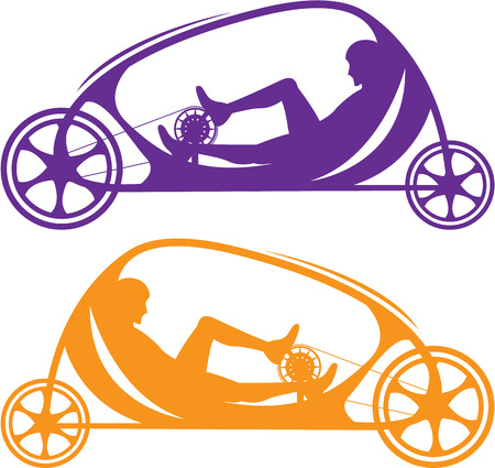 three wheeler: Recumbent bicycle vector illustration clip-art image Illustration