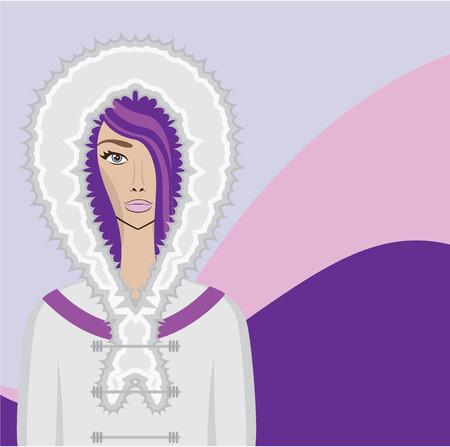 eskimo: Eskimo woman vector illustration clip-art image