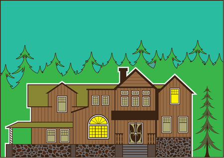 masonry: House in the woods vector illustration clip-art image
