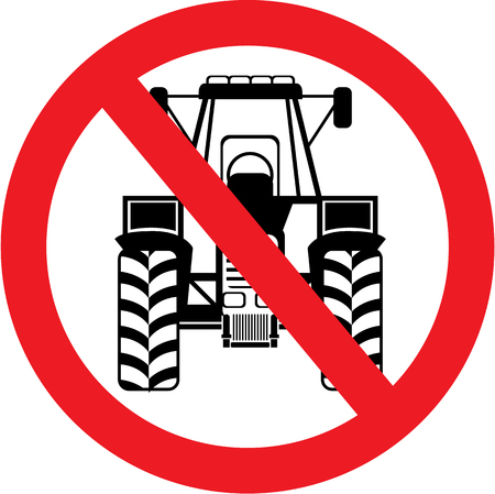 No Tractors here vector illustration clip-art image