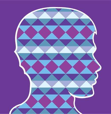 Pattern human head outline vector graphic
