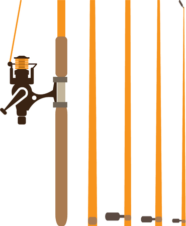 Fishing rod sections vector illustration clip-art image