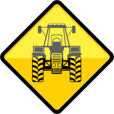 tractor warning: Tractor sign vector illustration clip-art image