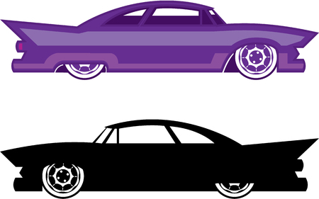 Hot rod vintage retro car illustration clip-art vector Çizim