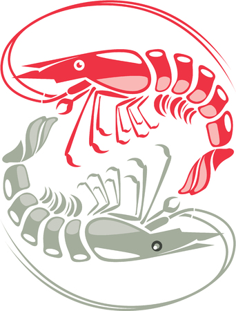 Shrimp vector red raw illustration clip-art image
