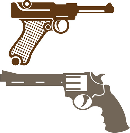 Retro pistols vector illustration clip-art image
