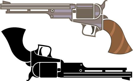 Vintage revolver illustration clip-art image file eps