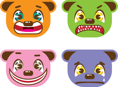 angry teddy: Asian style bear faces vector