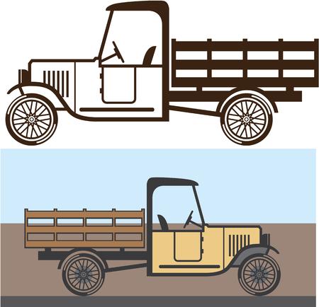 vintage truck: Vintage Truck illustration clip-art image file