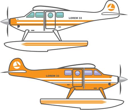 floating: Hydroplane. Floating plane. Illustration clip-art image Illustration
