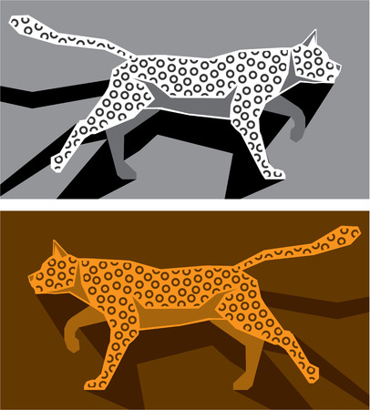 lioness: Stylized cat vector illustration clip-art image