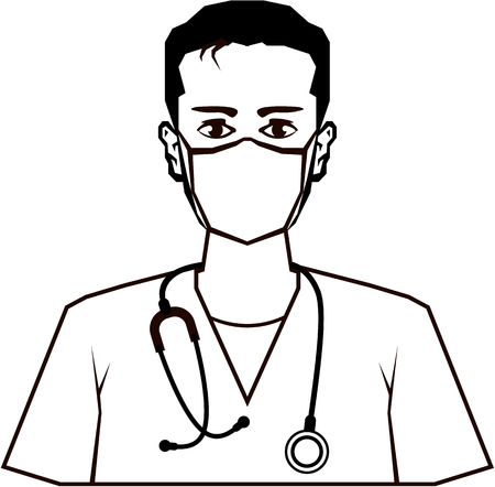 general practitioner: Doctor vector illustration clip-art image black and white