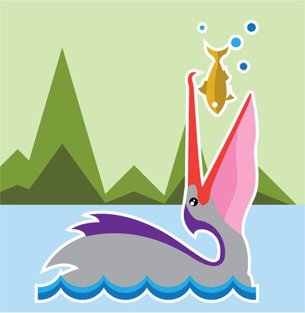 Pelican Eats Fish illustration clip-art image vector file Illustration