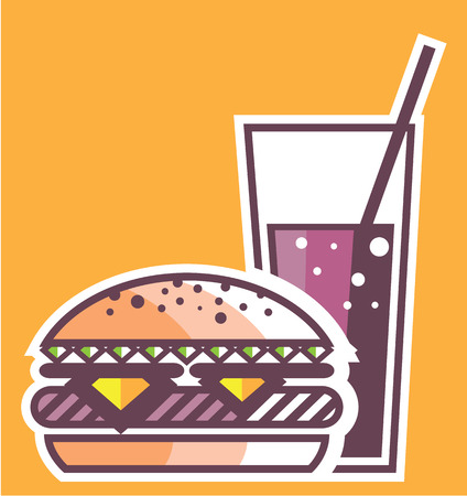 Fast Food Cheeseburger and Drink vector illustration Stok Fotoğraf - 67756827