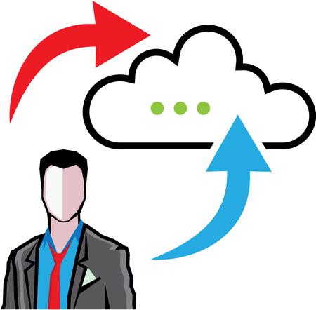 data synchronization: Cloud information exchange progress businessman