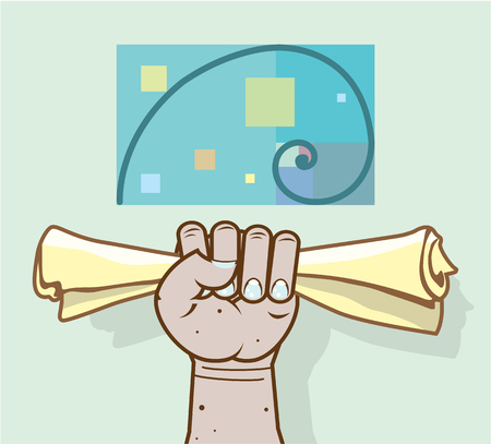 Human hand holds a paper roll secret article illustration clip-art