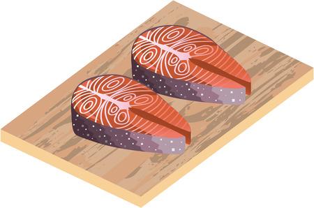 salmon steak: Fresh Salmon Red Fish Slices illustration clip-art image Illustration