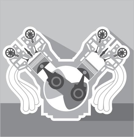 V 型 8 気筒エンジン クロス セクション ベクトル イラスト クリップ アート