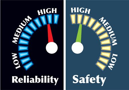 Reliability and Safety Gauges illustration clip-art image 일러스트