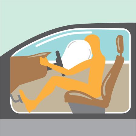 Airbag On vector illustration clip-art no seat belt driver