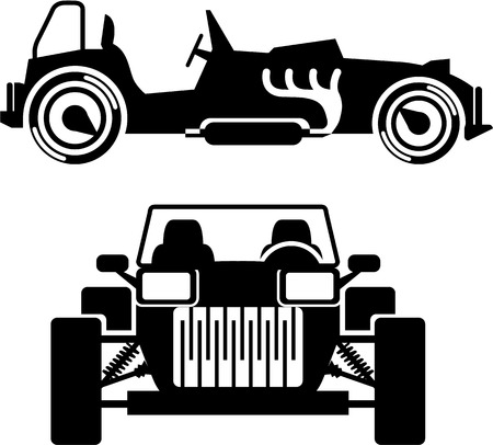 collectibles: Racing car vintage illustration clip-art black and white image