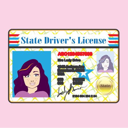 Rijbewijs Vrouw identiteitsbewijs met foto vector Stock Illustratie