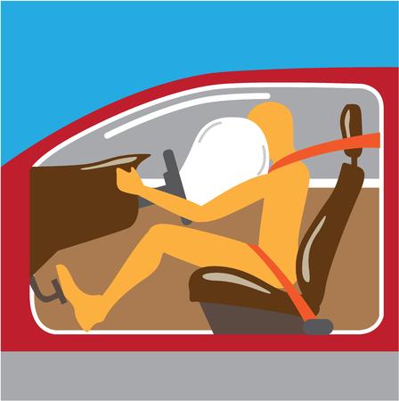 restraint device: Airbag Seat belt works vector illustration clip-art image