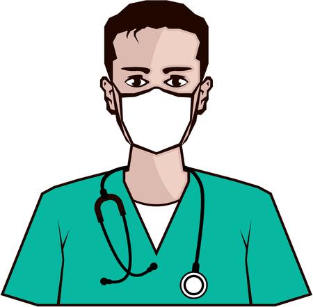 Doctor vector color illustration clip-art web art simple