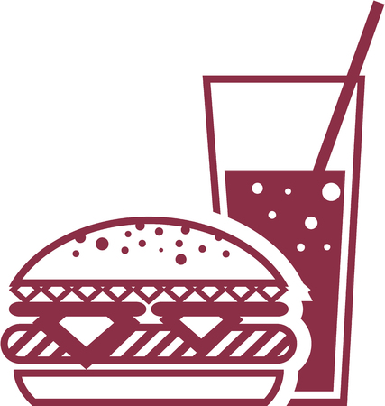 Fast Food Cheeseburger and Drink illustration clip-art image