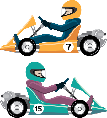 Karting Go Cart race vehicle with a driver illustration clip-art