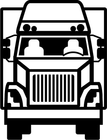 hauler: Truck Front black and white illustration clip-art image Illustration