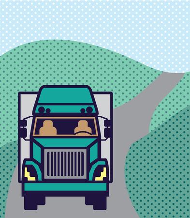 Truck front Color Vector illustration clip-art image