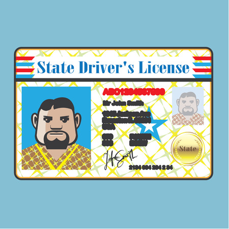drivers license: Drivers License Man photo ID vector