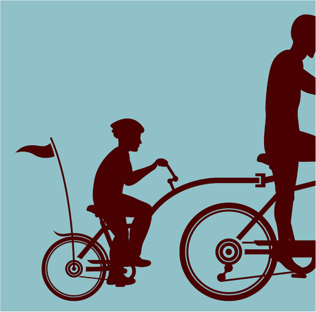 Co-pilot bicycle vector illustration clip-art image