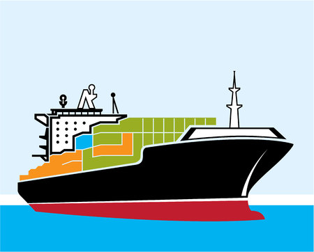 Cargo Ship illustration clip-art image vector