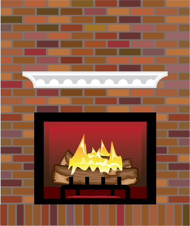 Brick Fireplace vector illustration clip-art image Illustration