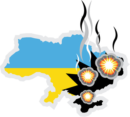Ukraine conflict vector illustration clip-art image