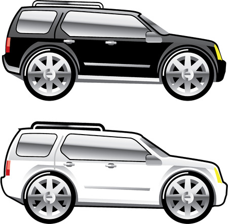 alloy: Large SUV stylized with large chrome Rims Vector