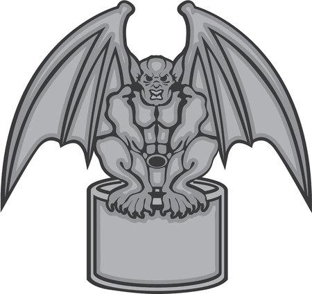 Gargoyle stone statue vector illustration clip-art