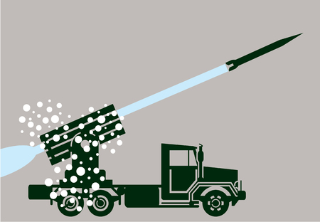 anti aircraft missiles: Rocket fire military truck vector illustration