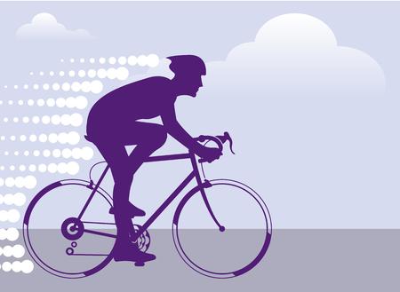 Fast cyclist vector illustration clip-art image